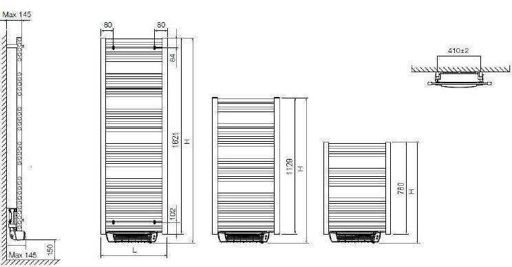 Delonghi scaldasalviette elettrico mod elegance e flow 1200 550 con soffiante - Termoarredo bagno elettrico ...