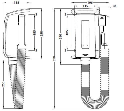 Asciugacapelli hr100 elettrico da parete elicent - Termosifone elettrico da parete ...