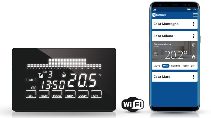 Cronotermostato settimanale ultrapiatto touch screen nero for Cronotermostato wifi fantini
